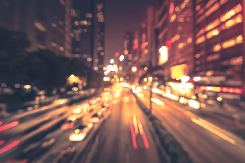 Bokeh city roads at night. - depth in iPhone