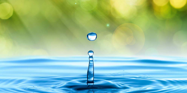 water drop with summer background