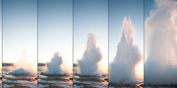 Strokkur Geyser Erupting against Sunset in Iceland (burst mode)
