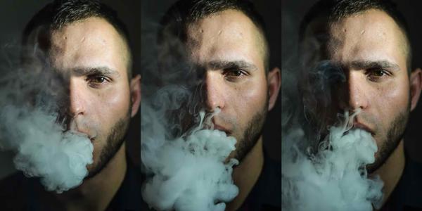 Collage. Man Vaping an Electronic Cigarette. Vaper Hipster Smoke Vaporizer and Exhals Smoke Cloud.