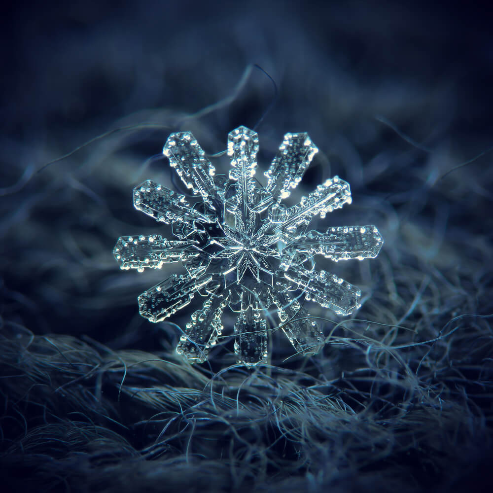 Macro photo of rare, unusual snowflake with twelve arms, complex structure and elegant shape. - fixing blurry iPhone photos