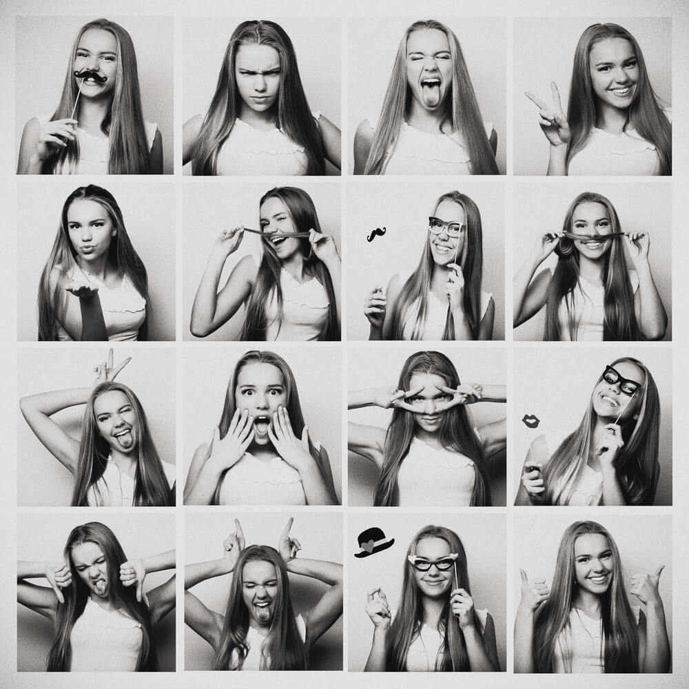 Grayscale Caucasian long-haired girl in different emotions