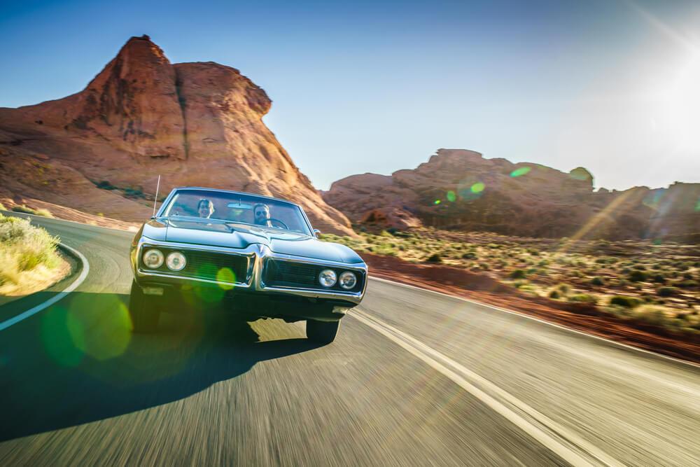 fast car in the desert highway