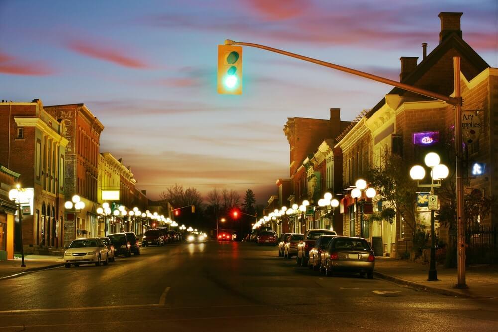 sunset on the street - night photos on iPhone