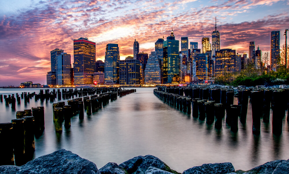 HDR photo of city by the water at sunset - iphone photography