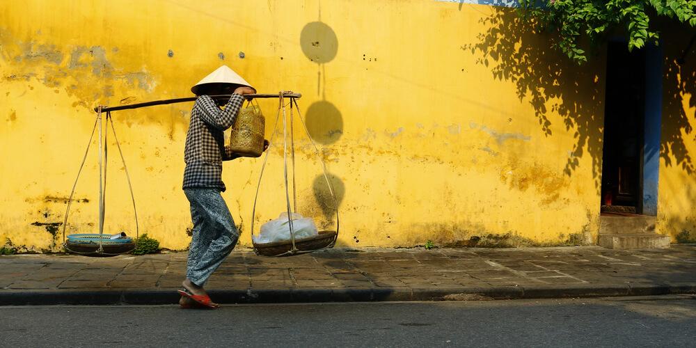 vendor walking in the street